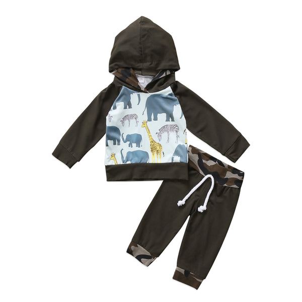 New Arrival Autumn Newborn Baby Boy Long Sleeve Hooded Tops Camo Long Pants 2PCS Outfits Set