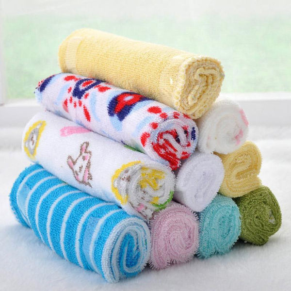 8pcs/Lot Cotton Children's Towel Washcloth Baby Feeding Face Towels Washers Hand Cute Cartoon Baby Wash Cloth