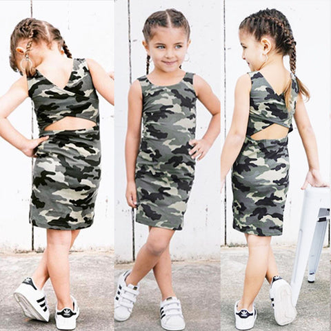 2018 Toddler Kids Baby Girls Camo Backless Dress Clothes Little Gilr Party Casual Dresses Sundress Clothing Outfit