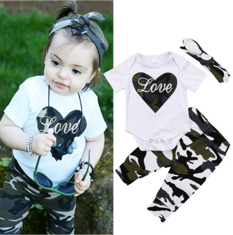 3PCS Fashion Newborn Kids Baby Girls Tops Heart Romper+Camo Pants+Headband Outfits Kids Clothes 0-18M