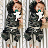 Fashionable Hooded Tops+Pants Baby Boy Camouflage Clothes Set Tracksuit