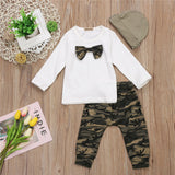 Awesome 3Pcs Set Baby Boy Gentleman Clothes Newborn Baby Boys T-Shirt Tops Camo Pants