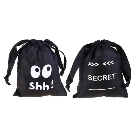 Nylon Drawstring Storage Bag Diaper Sanitary Napkin Bag Travel Pouch Jewelry Case Home Organizer Storage Bag Black