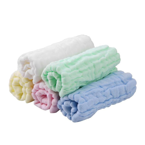 Newly 5pcs/lot 6 Layers of Cotton Gauze Baby Face Towel Fold Belt Hook Towel Newborn Washing Feeding Towel