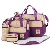 5pcs Baby Diaper Bags Suits Multifunctional Large Capacity Mummy Bag Milk Bottle Insulation Bags Mother Stroller Shoulder Bag