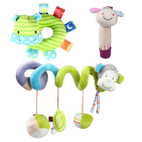 3Pcs Money Infant Baby Activity Spiral Bed Stroller Toy Donkey Hippo Soft Plush Hand Rattle