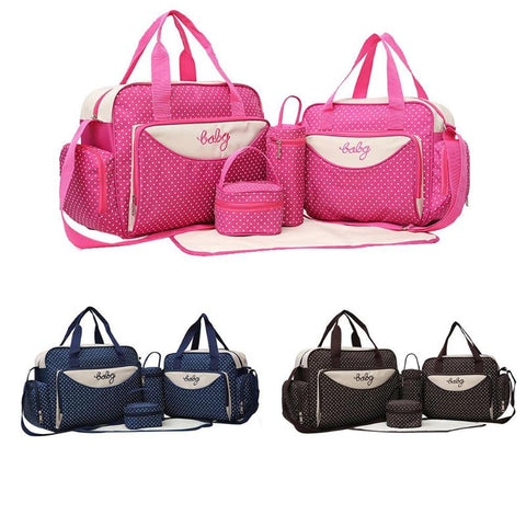 5pcs/Set Mother Mummy Bag Set Maternity Suits Large Handbag Baby Bottle Holder Bag Diaper Nappy Bag Stroller Food Bag Sets