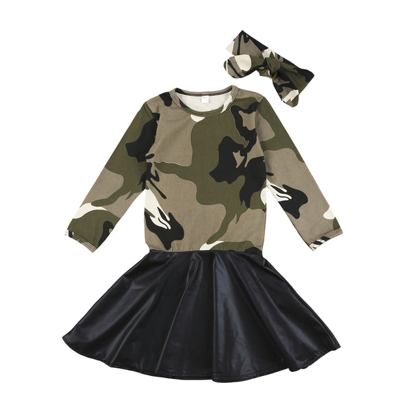 2-7Years Fashion Kids Baby Girls Camo Long Sleeve Tops PU girls Skirts Outfit Clothes 2018 New girls clothes
