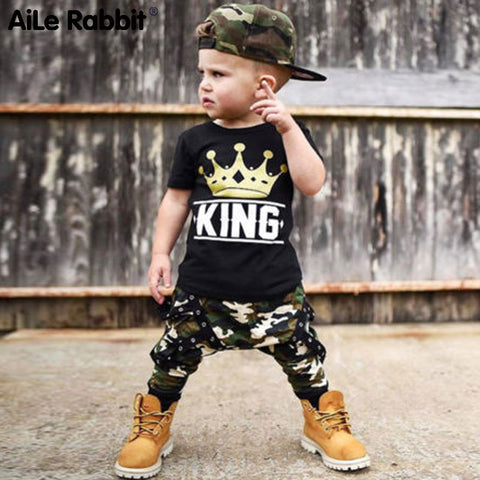 Crown Short Sleeve Boys T-shirt W/ Camo Pants 2Pcs Set  0-5T