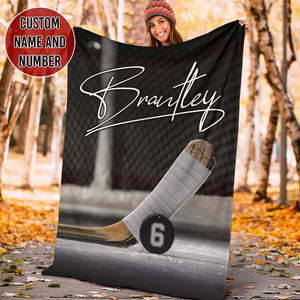 Custom Hockey Stick And Puck Blanket - TH2111194NG