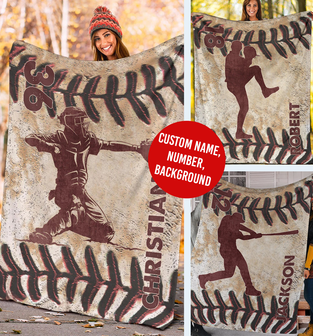 Leather Effect Baseball Player Custom Premium Blanket - MI3010194HA