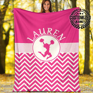 Pink ZigZag Pattern Cheerleader Custom Blanket - MP03121901HA