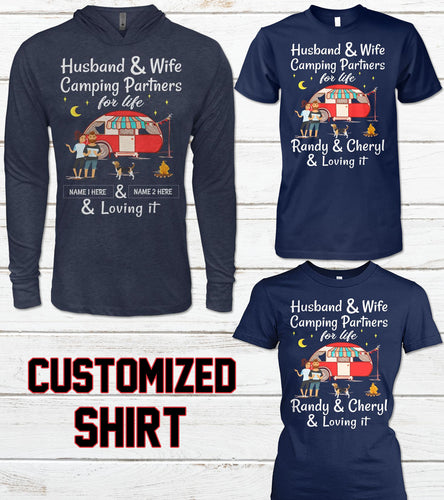 CAMPING HUSBAND AND WIFE- CUSTOMIZED SHIRT