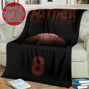 Football Black Custom Blanket - TH1812195HA