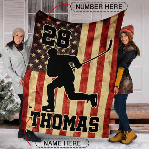 Custom Hockey Player Premium Blanket - TH2709193HA