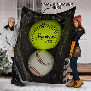 Softball Glove Black Name And Number Custom Blanket - VI1911195TQ