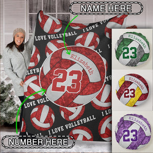 Custom I Love Volleyball Premium Blanket - TH0110195HA