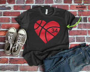 BASKETBALL - HEART - CUSTOMIZED SHIRT