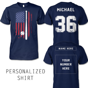FLAG BASEBALL SHIRT - NAME - NUMBER