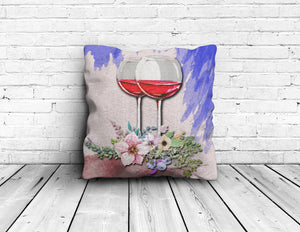 Floral Wine Square Pillow - Limited Edition