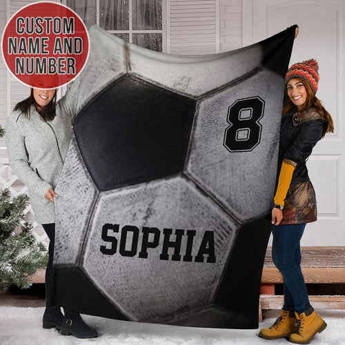 B&W Soccer Custom Blanket - TH0312193HA