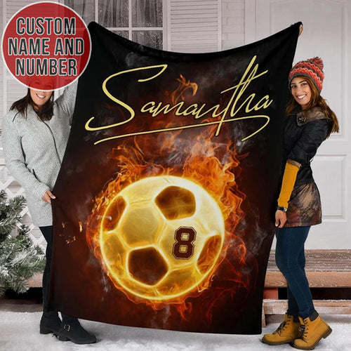 Soccer Fire Custom Fleece Blanket - TH0312194NG