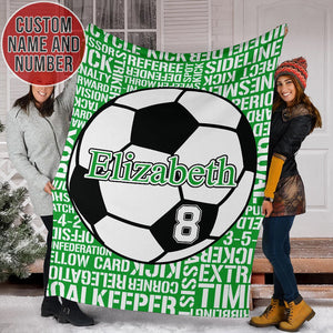 Custom Name & Number Soccer Green Blanket - TH1112191NG