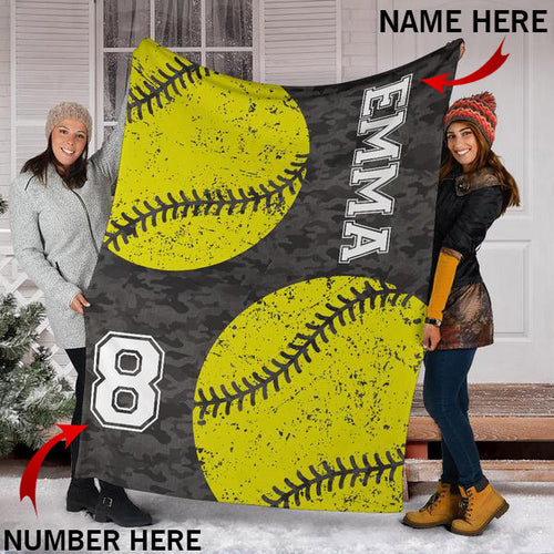 Custom Softball Camo Blanket - KA2509194NH