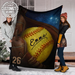 Custom Softball Glove Galaxy Blanket - MP15111903NG