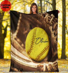 Softball Glove Name Custom Blanket - VI1511191TQ