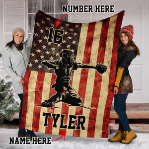 Custom Baseball Catcher Premium Blanket - SO2609191HA