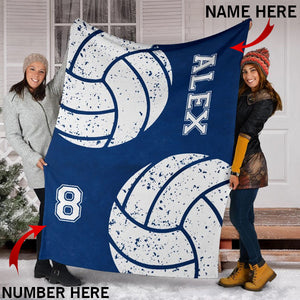 Custom Volleyball Blue Cobalt Blanket -  KA2709199OA