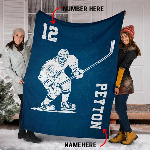 Hockey Player Blue Custom Blanket - PT0210195TQ