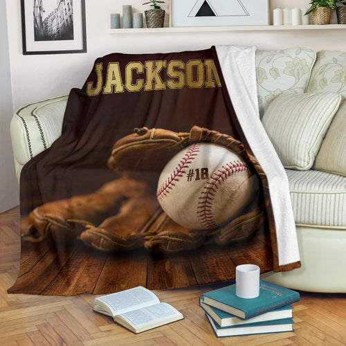 Baseball Glove And Ball Jackson 18 Custom Blanket - LU2011191TQ