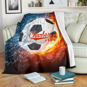 Soccer Water And Fire Custom Blanket - LU0110191HO