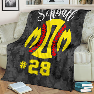 SOFTBALL MOM BLANKET - NUMBER - #ND11419