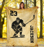 Hockey Player Vintage Custom Blanket - TD3009195HO