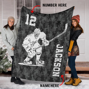 Hockey Player Camo Custom Blanket - TD2809192HO
