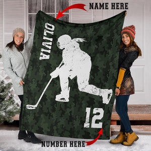 Custom Green Camo Hockey Player Premium Blanket - PT0210192HO