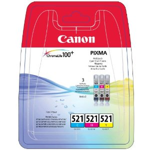 Canon CLI-521 Printer Ink Cartridges 3 Pack - CMY