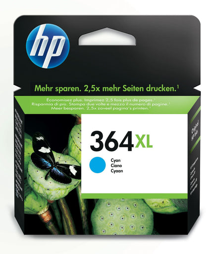 HP 364XL High Yield Cyan Original Ink Cartridge Page Yield 750 (P/N CB323EE)