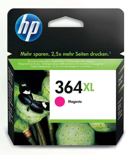 HP 364XL High Yield Magenta Original Ink Cartridge Page Yield 750 (P/N CB324EE)