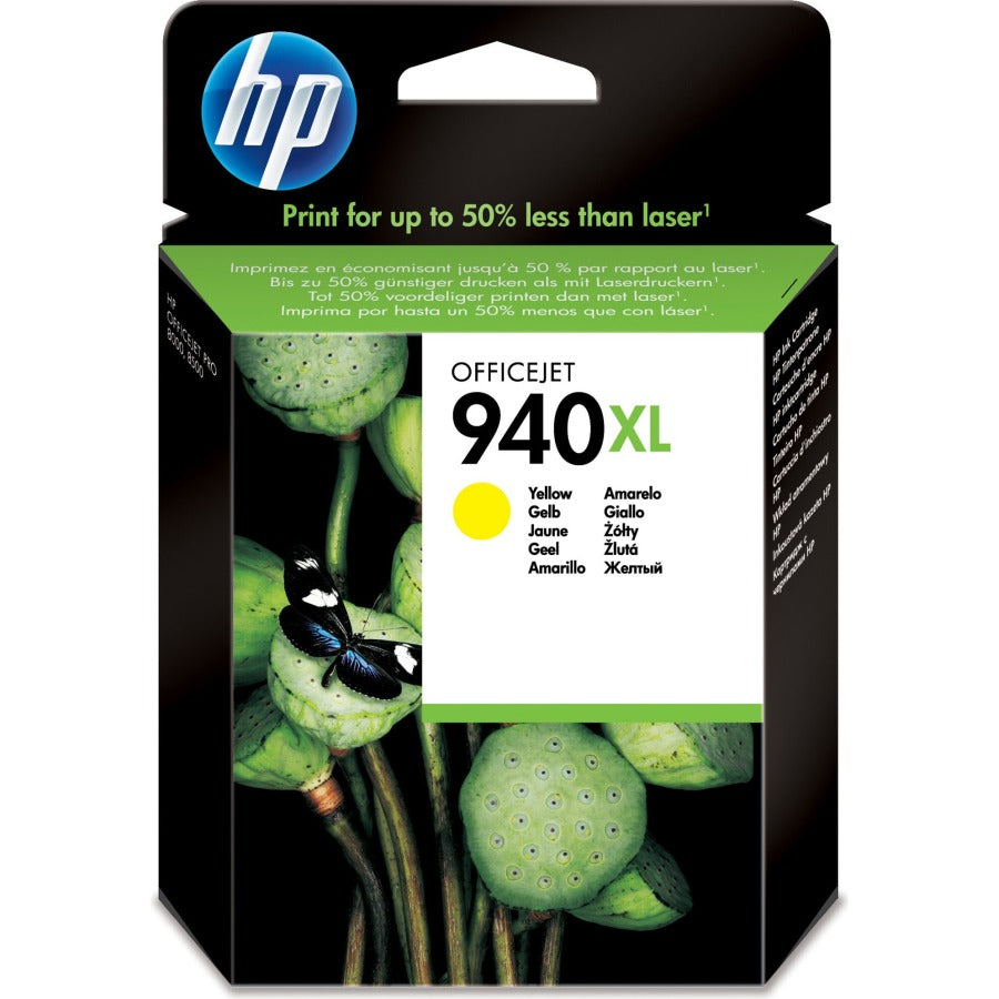 HP 940XL High Yield Yellow Original Ink Cartridge Page Yield 1400 (P/N C4909AE)