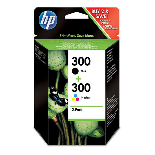 HP 300 2-Pack Black/Tri-colour Original Ink Cartridges Combo Pack Page Yield B 200/Tri 165 (CN637EE)