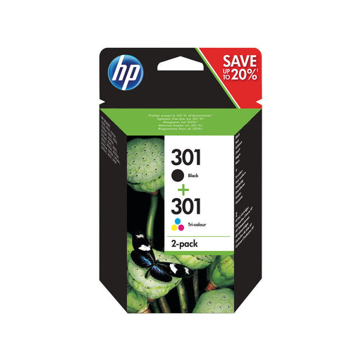 HP 301 2-pack Black/Tri-colour Original Ink Cartridges Combo pack Page Yield B 190/ Tri 165 (N9J72AE)