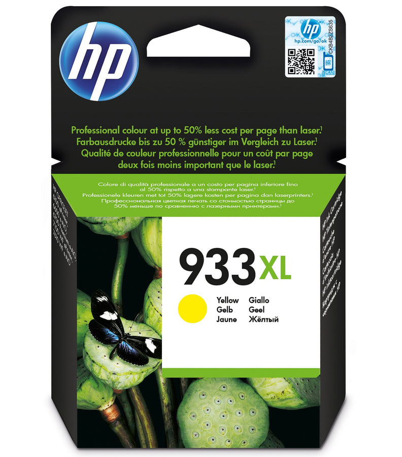 HP 933XL High Yield Yellow Original Ink Cartridge Page Yield 825 (P/N CN056AE)