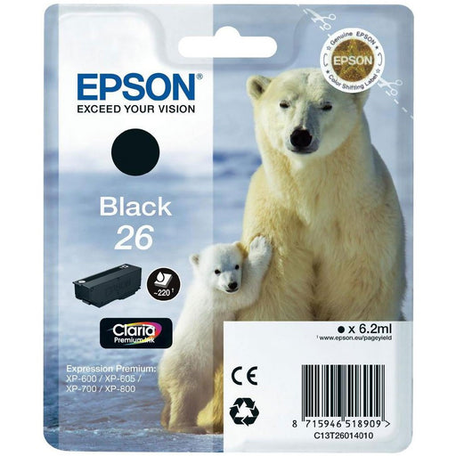 Epson Original T26 Black Claria Inkjet Cartridge (Polar Bear)