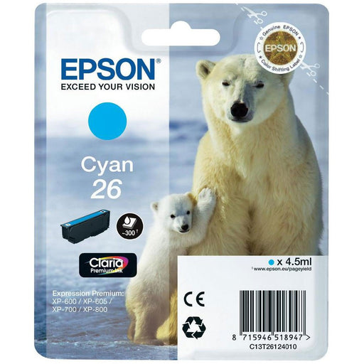 Epson Original T26 Cyan Claria Inkjet Cartridge (Polar Bear)