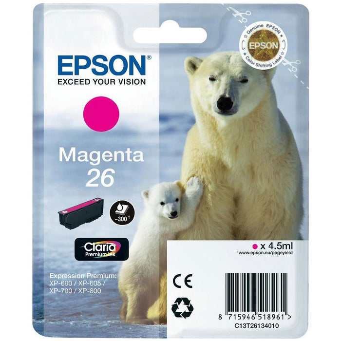 Epson Original T26 Magenta Claria Inkjet Cartridge (Polar Bear)