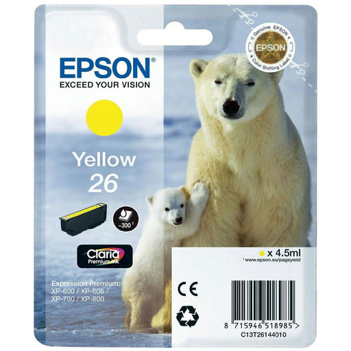Epson Original T26 Yellow Claria Inkjet Cartridge (Polar Bear)